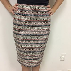 The Limited Aztec Striped Pencil Skirt Embroidered